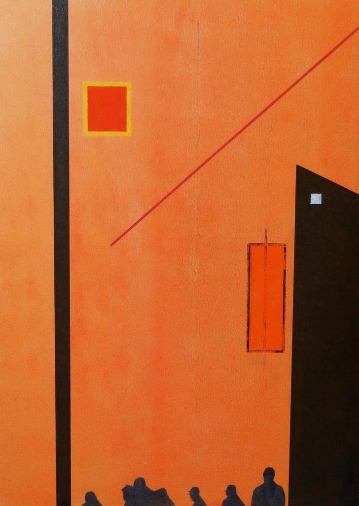 Diethard Riedel: Tachistische Abstraktion Nr. 2, 2020, Sprays und Abklatschtechnik auf Graupappe, 70 x 50 cm