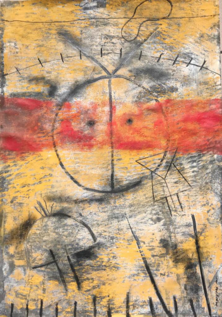 Margit Bu Dominguez, Sonne, 2011, Mischtechnik auf Leinwand, 70 x 50 cm