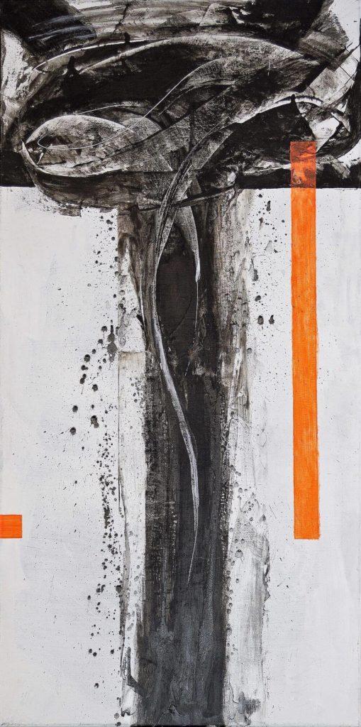 Reinhard Bienert, o.T., 2020, Konkret Leuchtorange und Informel-Rakelinspiration nach K.O. Goetz, Acryl auf Leinwand, 100 x 50 cm
