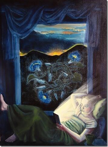 Ute Plank, Blaue Stunde/Morning Glory, 2017, Öl auf Leinwand, gerahmt, 90 x 60 cm