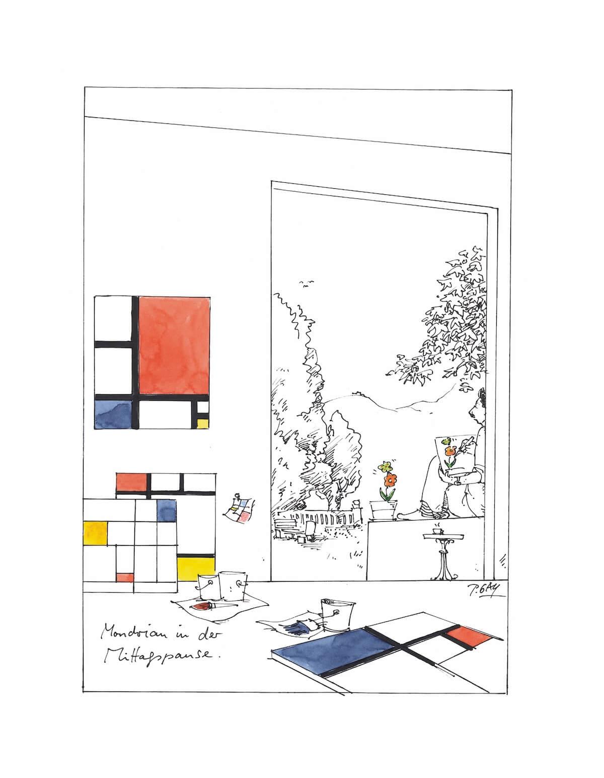 Peter Gaymann, Mondrian in der Mittagspause, Tusche und Aquarell auf Papier, 38 x 28cm, signiert, Unikat
