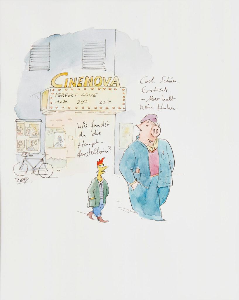 Peter Gaymann, Wie fandest du die Hauptdarstellerin?, Tusche und Aquarell auf Papier, 38 x 28,5cm, signiert, Unikat