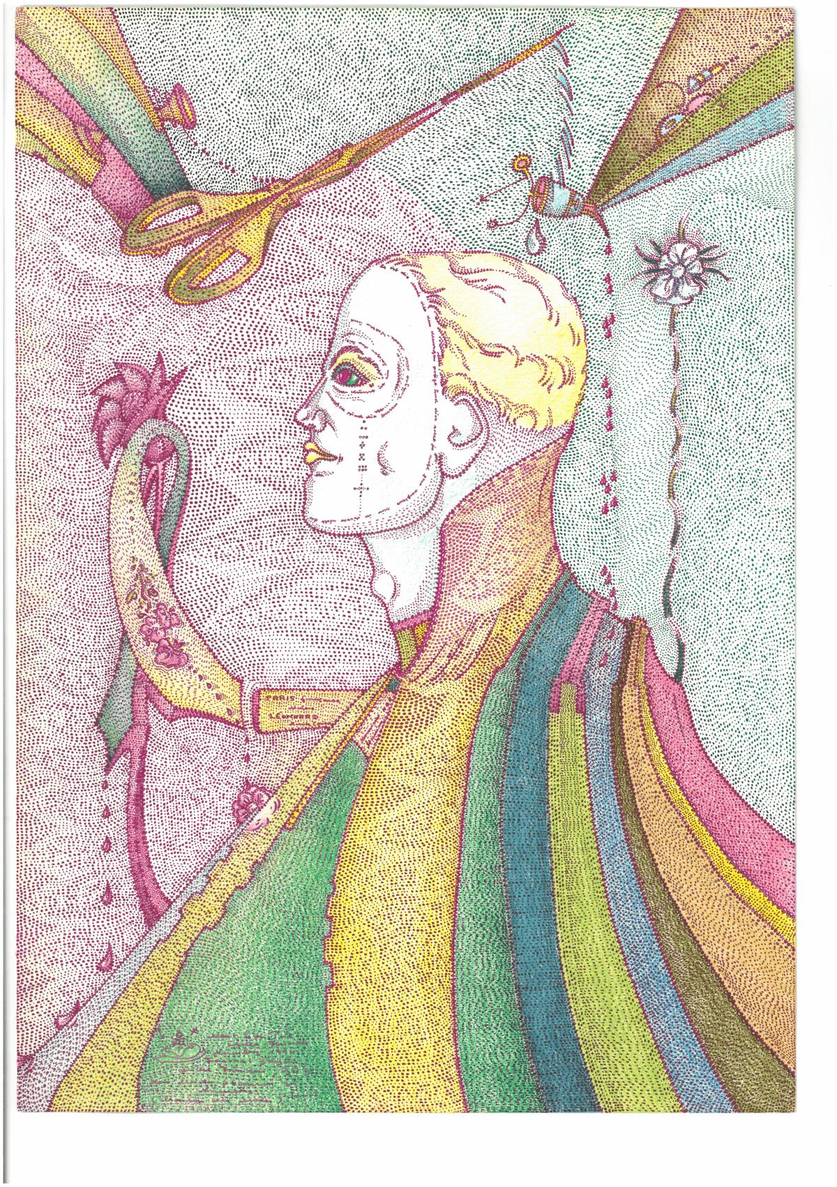 Albert Leo Peil, Modemeister Stamm zu Nürnberg Junior (Maison des Modes), 1989, Tusche und Farbstift auf Papier, 32 x 24 cm, Foto: kunst galerie fürth