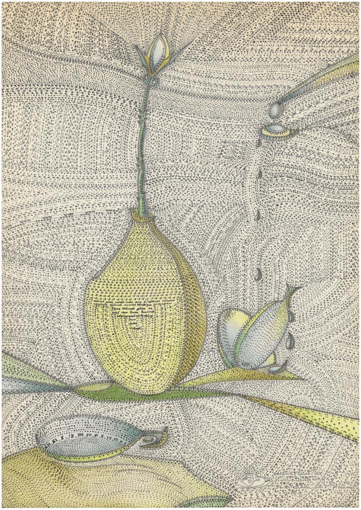 Albert Leo Peil, Stil-Leben mit Pflaumen, 1994, Tusche, Farbstift, Bleistift auf Papier, 29,5 x 21 cm, Foto: kunst galerie fürth