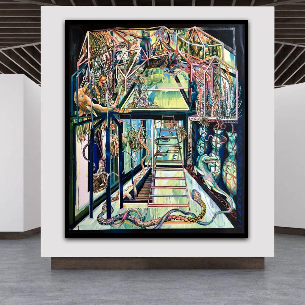 Marina Friedrich, Großes Gewächshaus, 2020, 180 x 150 cm, Acryl auf Leinwand, 35.000,-